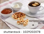 swedish breakfast with mini... | Shutterstock . vector #1029202078