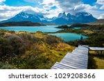hiker in torres del paine... | Shutterstock . vector #1029208366