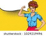 pop art sexy strong girl rising ...   Shutterstock .eps vector #1029219496