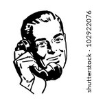 Fellow On The Phone - Retro Clipart Illustration   Shutterstock vector #102922076