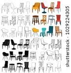 vector  set of chairs ... | Shutterstock .eps vector #1029224305