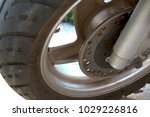 modern scooter wheel with a... | Shutterstock . vector #1029226816