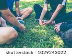 group of young friend... | Shutterstock . vector #1029243022