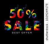 colored discount 50 percent off ... | Shutterstock . vector #1029249175