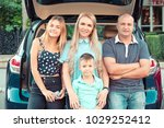 happy family traveling. happy... | Shutterstock . vector #1029252412