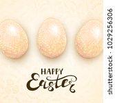 beige easter eggs with ornate... | Shutterstock .eps vector #1029256306