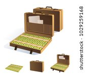 a suitcase of money. packing in ... | Shutterstock .eps vector #1029259168