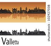 Valletta Skyline In Orange...