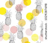 summer fresh outline pineapple... | Shutterstock .eps vector #1029287698