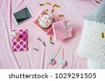 top view gift with delicious... | Shutterstock . vector #1029291505