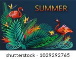 summer background with tropical ... | Shutterstock .eps vector #1029292765