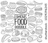 famous world food doodle line... | Shutterstock .eps vector #1029296245