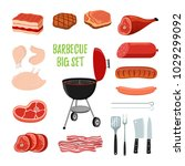 vector barbecue set   different ... | Shutterstock .eps vector #1029299092