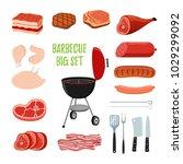 vector barbecue set   different ... | Shutterstock .eps vector #1029299092