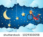 surreal night with hanging... | Shutterstock .eps vector #1029303058