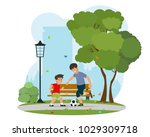 father with his little son... | Shutterstock .eps vector #1029309718