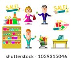 the seller in shop. set of... | Shutterstock .eps vector #1029315046