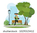 father and son playing in the... | Shutterstock .eps vector #1029315412