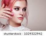 blonde girl with elegant and... | Shutterstock . vector #1029322942