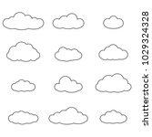 cloud outline set. cloud line... | Shutterstock . vector #1029324328
