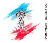 holi background for festival of ... | Shutterstock .eps vector #1029335422