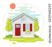 small house and beautiful rural ...   Shutterstock .eps vector #1029340195