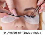 eyelash extension procedure....   Shutterstock . vector #1029345016