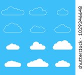 clouds icon set. different... | Shutterstock . vector #1029346648