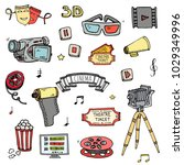 hand drawn doodle cinema set.... | Shutterstock .eps vector #1029349996