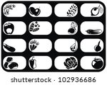 black and white fruits and... | Shutterstock .eps vector #102936686