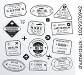passport stamp set. different... | Shutterstock . vector #1029370942