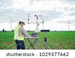 engineer using tablet computer... | Shutterstock . vector #1029377662