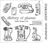 history of phones hand drawn... | Shutterstock .eps vector #1029378922