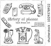 history of phones hand drawn... | Shutterstock .eps vector #1029378922
