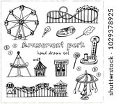 amusement park hand drawn... | Shutterstock .eps vector #1029378925
