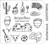 argentina hand drawn doodle set.... | Shutterstock .eps vector #1029378952