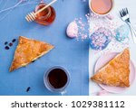 apple turnovers served with tea ...   Shutterstock . vector #1029381112
