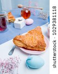 apple turnovers served with tea ...   Shutterstock . vector #1029381118