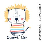 hand drawing sweet lion... | Shutterstock .eps vector #1029383815