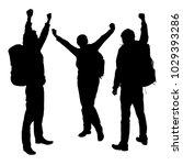 set vector silhouettes joyful...   Shutterstock .eps vector #1029393286