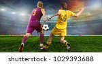 soccer ball on the field of...   Shutterstock . vector #1029393688