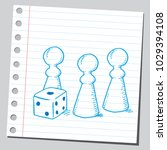 board game figures and dice | Shutterstock .eps vector #1029394108
