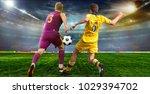soccer ball on the field of... | Shutterstock . vector #1029394702