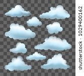 set of vector clouds on... | Shutterstock .eps vector #1029400162