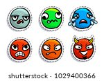 set of expression emoji in pop... | Shutterstock .eps vector #1029400366