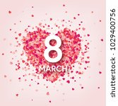 women's day red background with ... | Shutterstock .eps vector #1029400756