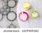 two trendy beetroot lattes with ... | Shutterstock . vector #1029409282