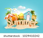 the word summer made of sand on ... | Shutterstock . vector #1029410242