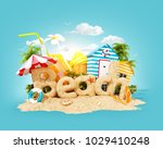 the word beach made of sand on... | Shutterstock . vector #1029410248