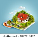 white house of dream with white ... | Shutterstock . vector #1029410302